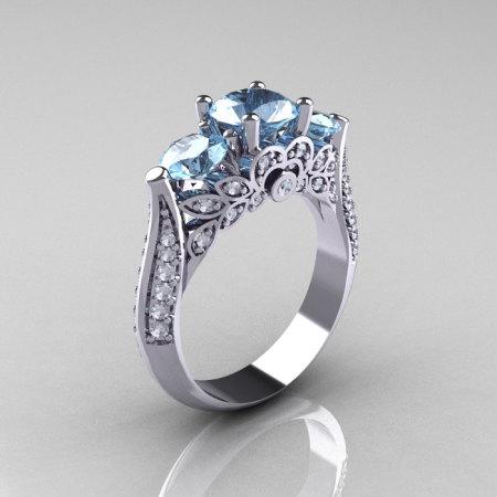 14K White Gold Three Stone Diamond Aquamarine Solitaire Ring R200-14KWGDAQ-1
