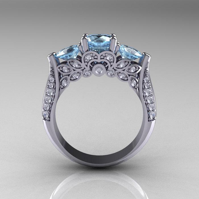 14k white gold three stone diamond aquamarine solitaire ring r200 14kwgdaq 2 - White Gold Cubic Zirconia Wedding Rings