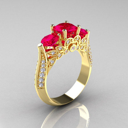 14K Yellow Gold Three Stone Diamond Rubies Solitaire Ring R200-14KYGDR-1