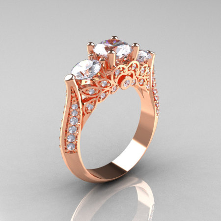 18K Rose Gold Three Stone Diamond Cubic Zirconia Solitaire Ring R200-18KRGDCZ-1