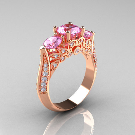 Classic 14K Rose Gold Three Stone Diamond Light Pink Sapphire Solitaire Ring R200-14KRGDLPS-1