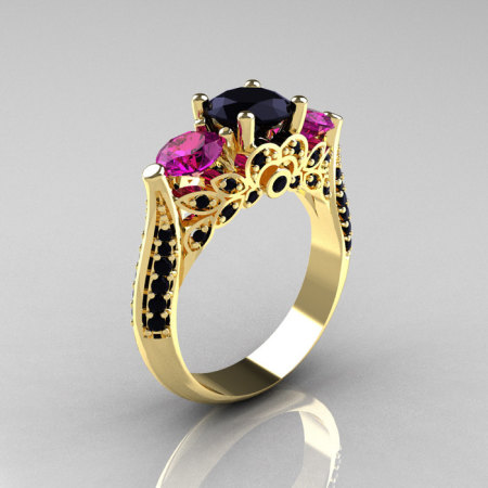 Classic 14K Yellow Gold Three Stone Black Diamond Amethyst Solitaire Ring R200-14KYGBDAM-1