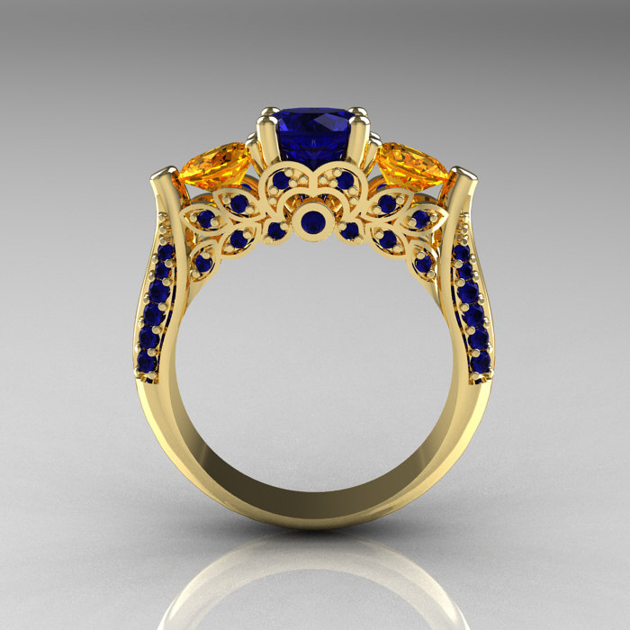 Classic 14k Yellow Gold Three Stone Blue Sapphire Citrine
