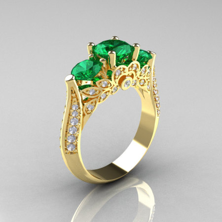 Classic 14K Yellow Gold Three Stone Diamond Emerald Solitaire Ring R200-14KYGDEM-1
