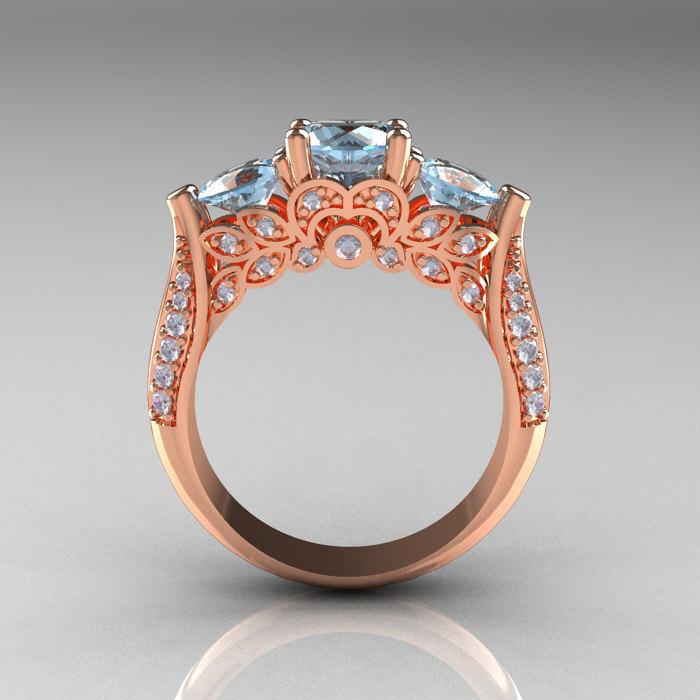 Classic 14k Rose Gold Three Stone Diamond Aquamarine