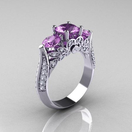 Classic 14K White Gold Three Stone Diamond Lilac Amethyst Solitaire Ring R200-14KWGDLA-1