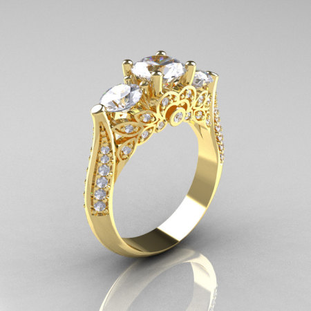Classic 14K Yellow Gold Three Stone Diamond Cubic Zirconia Solitaire Ring R200-14KYGDCZ-1