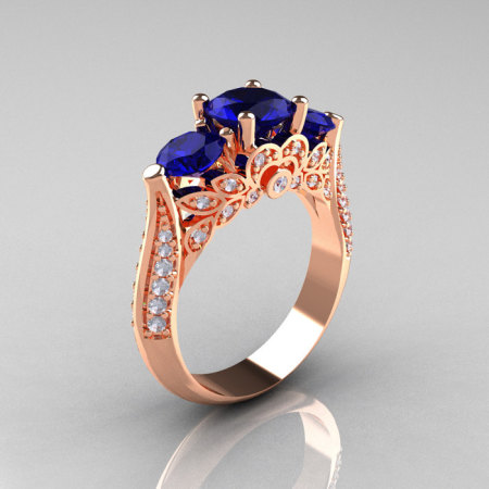 Classic 14K Rose Gold Three Stone Diamond Blue Sapphire Solitaire Ring R200-14KRGDBS-1