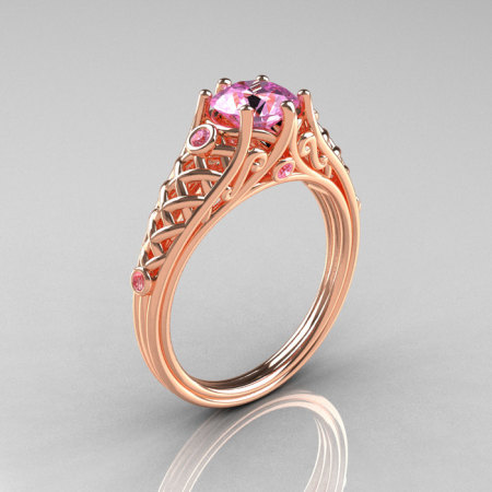 Classic French 14K Rose Gold 1.0 Carat Light Pink Sapphire Lace Ring R175-14RGLPS-1