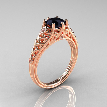 Classic French 18K Rose Gold 1.0 Carat Black Diamond Lace Ring R175-18KRGDBD-1
