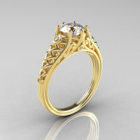 Classic 14K Yellow Gold 1.0 Carat Cubic Zirconia Diamond Lace Ring R175-14KYGDCZ-1