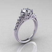 Classic French 14K White Gold 1.0 Carat Cubic Zirconia Diamond Lace Ring R175-14WGDCZ-1