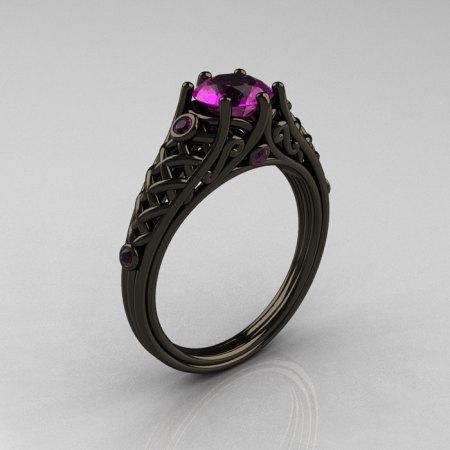 Classic 14K Black Gold 1.0 Carat Amethyst Lace Ring R175-14KBGAM-1