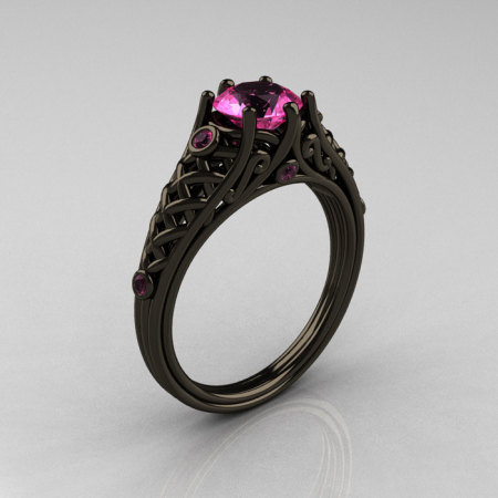 Classic 14K Black Gold 1.0 Carat Pink Sapphire Lace Ring R175-14KBGPS-1