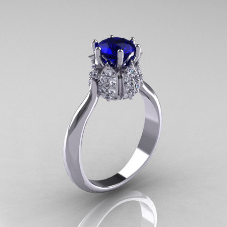 14K White Gold Diamond 1.0 Carat Blue Sapphire Tulip Solitaire Engagement Ring NN119-14KWGDBS-1