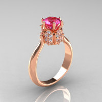 14K Rose Gold Diamond 1.0 Carat Pink Sapphire Tulip Solitaire Engagement Ring NN119-14KRGDPS-1