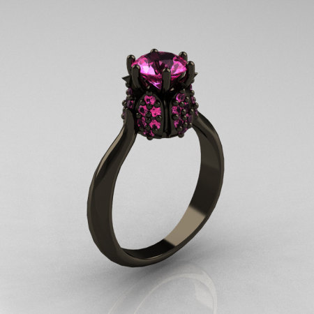14K Black Gold 1.0 Carat Pink Sapphire Tulip Solitaire Engagement Ring NN119-14KBGPS-1
