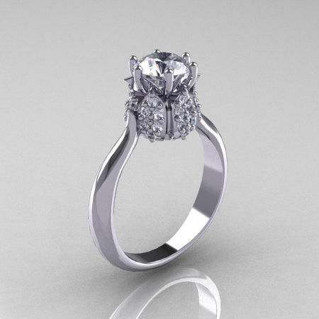14K White Gold Diamond 1.0 Carat Cubic Zirconia Tulip Solitaire Engagement Ring NN119-14KWGDCZ-1