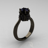 14K Black Gold 1.0 Carat Black Diamond Tulip Solitaire Engagement Ring NN119-14KBGBD-1