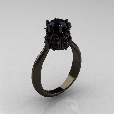 14K Black Gold 1.0 Carat Black Diamond Tulip Solitaire Engagement Ring NN119-14KBGBD-1