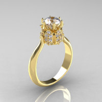 14K Yellow Gold Diamond 1.0 Carat Cubic Zirconia Tulip Solitaire Engagement Ring NN119-14KYGDCZ-1