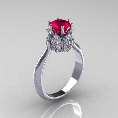 14K White Gold Diamond 1.0 Carat Ruby Tulip Solitaire Engagement Ring NN119-14KWGDR-1