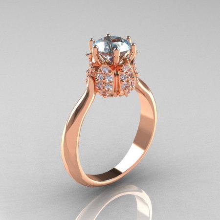14K Rose Gold Diamond 1.0 Carat Aquamarine Tulip Solitaire Engagement Ring NN119-14KRGDAQ-1