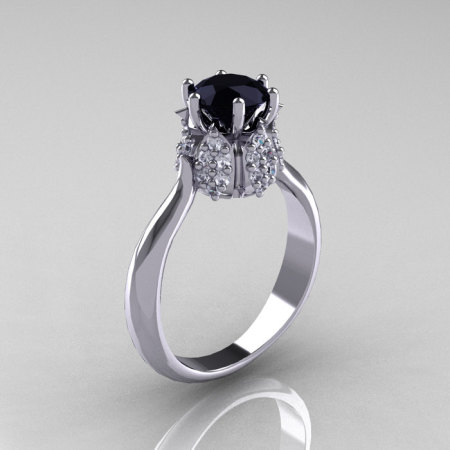 14K White Gold 1.0 Carat Black and White Diamond Tulip Solitaire Engagement Ring NN119-14KWGDBD-1