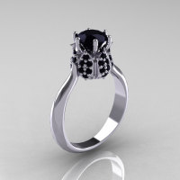 14K White Gold 1.0 Carat Black Diamond Tulip Solitaire Engagement Ring NN119-14KWGBD-1