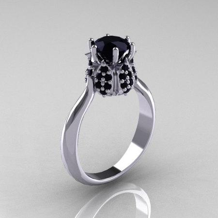 14K White Gold 1.0 Carat Black Diamond Tulip Solitaire Engagement Ring NN119-14KWGBD-1