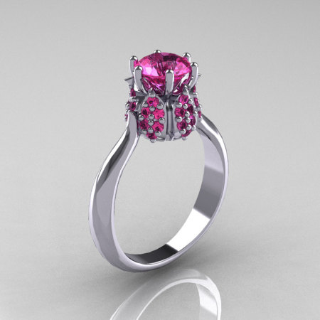 10K White Gold 1.0 Carat Pink Sapphire Tulip Solitaire Engagement Ring NN119-10KWGPS-1
