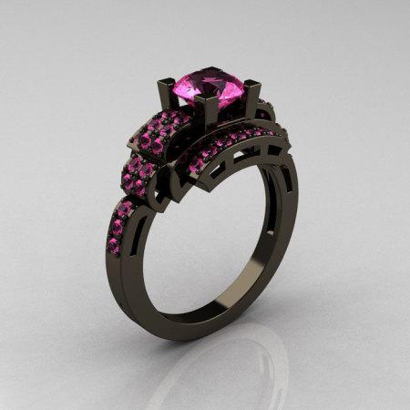 Modern Edwardian 14K Black Gold 1.0 Carat Pink Sapphire Ring R202-14KBGPS-1
