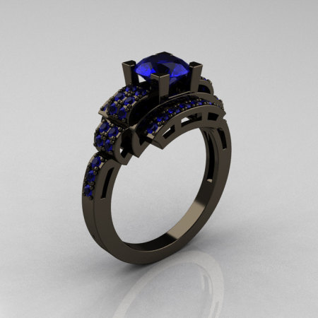 Modern Edwardian 14K Black Gold 1.0 Carat Blue Sapphire Ring R202-14KBGBS-1