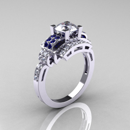 Modern Edwardian 14K White Gold 1.0 Carat White and Blue Sapphire Diamond Ring R202-14KWGDBWS-1