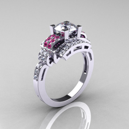 Modern Edwardian 10K White Gold 1.0 Carat White and Pink Sapphire Ring R202-10KWGPWS-1