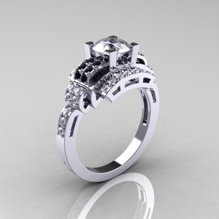 Modern Edwardian 14K White Gold 1.0 Carat White Sapphire Black Diamond Ring R202-14KWGBDWS-1