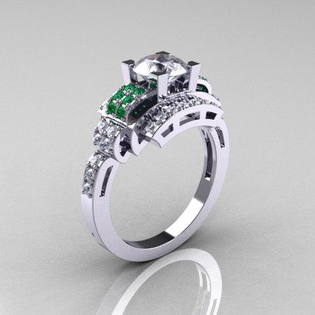 Modern Edwardian 14K White Gold 1.0 Carat Cubic Zirconia Emerald Diamond Ring R202-14KWGDEMCZ-1