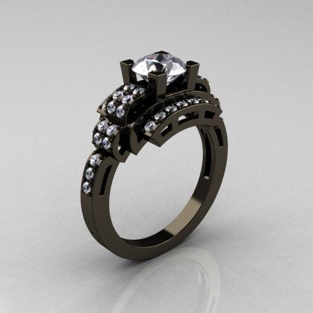 Modern Edwardian 14K Black Gold 1.0 Carat Cubic Zirconia Diamond Ring R202-14KBGDCZ-1