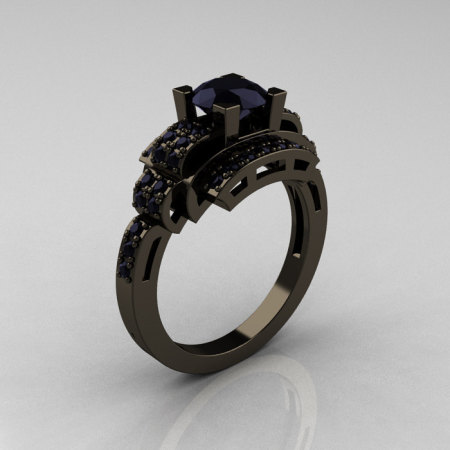 Modern Edwardian 14K Black Gold 1.0 Carat Black Diamond Ring R202-14KBGBD-1