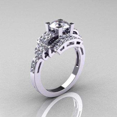Modern Edwardian 14K White Gold 1.0 Carat CZ Diamond Ring R202-14KWGDCZ-1