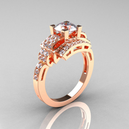 Modern Edwardian 14K Rose Gold 1.0 Carat CZ Diamond Ring R202-14KRGDCZ-1