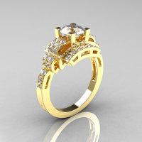 Modern Edwardian 14K Yellow Gold 1.0 Carat CZ Diamond Ring R202-14KYGDCZ-1