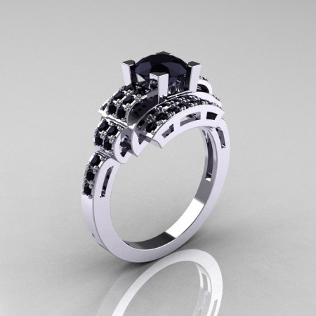 Modern Edwardian 14K White Gold 1.0 Carat Black Diamond Ring R202-14KWGBD-1