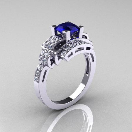 Modern Edwardian 14K White Gold 1.0 Carat Blue Sapphire Diamond Ring R202-14KWGDBS-1