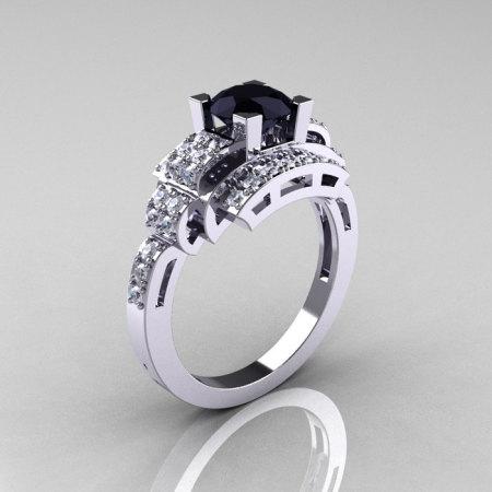 Modern Edwardian 14K White Gold 1.0 Carat Black and White Diamond Ring R202-14KWGDBD-1