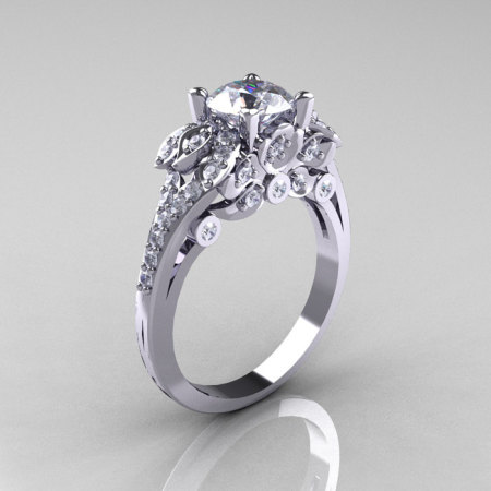 Classic 14K White Gold 1.0 CT Cubic Zirconia Diamond Solitaire Wedding Ring R203-14KWGDCZ-1