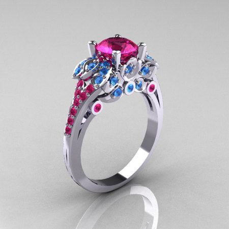 Classic 14K White Gold 1.0 CT Pink Sapphire Blue Topaz Solitaire Wedding Ring R203-14KWGPSBT-1
