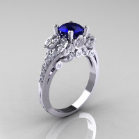 Classic 18K White Gold 1.0 CT Blue Sapphire Diamond Solitaire Wedding Ring R203-18KWGDBS-1