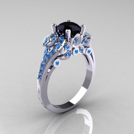 Classic 14K White Gold 1.0 CT Black Diamond Blue Topaz Blazer Wedding Ring R203-14KWGBTBD-1