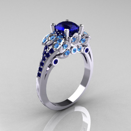 Classic 14K White Gold 1.0 CT Blue Sapphire Blue Topaz Blazer Wedding Ring R203-14KWGBTBS-1